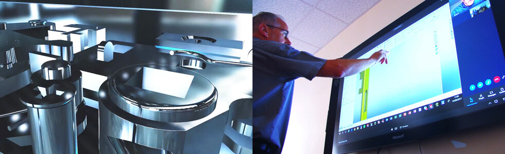 Split image showing lock mechanism and 3D prototyping facilities