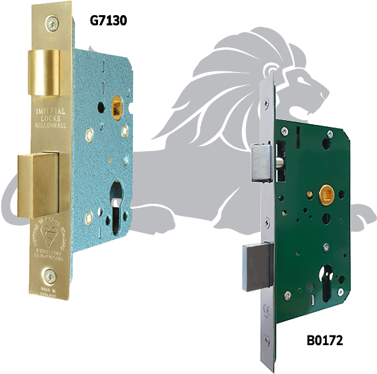 G7130 BS3621 British Standard Euro-Profile Cylinder Mortice Sashlock and B0172-P Euro-Profile Cylinder 72mm Centre Sashlock